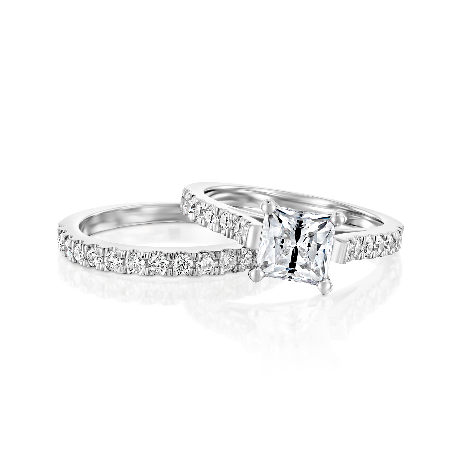 enhanced 14k white gold princess cut diamond engagement. Black Bedroom Furniture Sets. Home Design Ideas